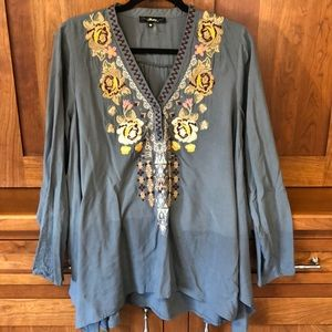 **2 for $10** Boho blouse with floral embroidery